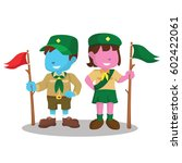 blue boy scout and pink girl... | Shutterstock .eps vector #602422061