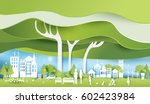 green eco city and life paper... | Shutterstock .eps vector #602423984