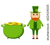 cartoon leprechaun on st.... | Shutterstock . vector #602424035