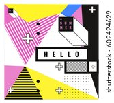 trendy vector summer cards... | Shutterstock .eps vector #602424629