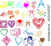 vector set of valentines doodles | Shutterstock .eps vector #602426537