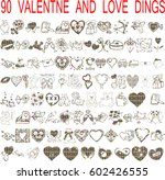 vector set of valentines doodles | Shutterstock .eps vector #602426555
