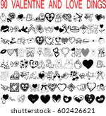 vector set of valentines doodles | Shutterstock .eps vector #602426621
