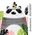 a poster with a panda. a... | Shutterstock .eps vector #602428007