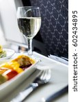 airplane seat with served... | Shutterstock . vector #602434895