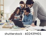 group of university students... | Shutterstock . vector #602439401