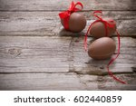 chocolate easter eggs over... | Shutterstock . vector #602440859