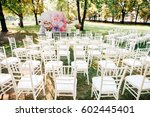 wedding ceremony with... | Shutterstock . vector #602445401