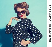 portrait of stylish girl in... | Shutterstock . vector #602446601