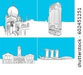 singapore famous buildings... | Shutterstock .eps vector #602451251