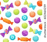 sweet candies seamless pattern... | Shutterstock .eps vector #602464259