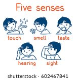 icons of five senses   touch ... | Shutterstock .eps vector #602467841