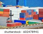 cargo container stack in port...   Shutterstock . vector #602478941