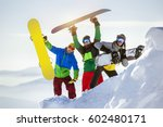 group of three happy... | Shutterstock . vector #602480171