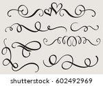 set art calligraphy flourish of ... | Shutterstock .eps vector #602492969