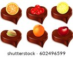 chocolate candy heart with... | Shutterstock .eps vector #602496599