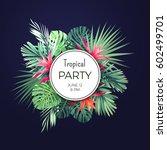 dark vector floral banner... | Shutterstock .eps vector #602499701