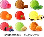 ice cream flavor with raspberry ... | Shutterstock .eps vector #602499941