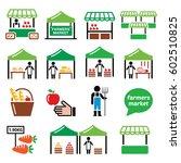 farmers market  food market...   Shutterstock .eps vector #602510825