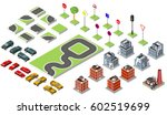 set isometric road and vector... | Shutterstock .eps vector #602519699