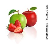 green apple  red apple and...   Shutterstock .eps vector #602529131