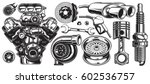 set of monochrome car repair... | Shutterstock .eps vector #602536757