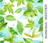 hand drawn watercolor seamless... | Shutterstock . vector #602537825