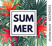 green botanical summer tropical ... | Shutterstock .eps vector #602540201
