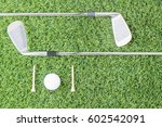 sport objects related to golf... | Shutterstock . vector #602542091