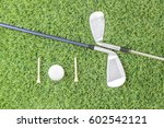 sport objects related to golf... | Shutterstock . vector #602542121