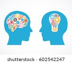 heads of two people with gears  ... | Shutterstock .eps vector #602542247