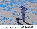 young seaman doing paint... | Shutterstock . vector #602548187