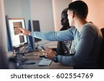 programmers cooperating at  it... | Shutterstock . vector #602554769