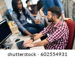 programmer working in a... | Shutterstock . vector #602554931