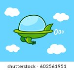 Cute Cartoon Futuristic Flying...