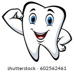 strong tooth cartoon character | Shutterstock .eps vector #602562461