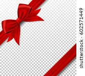 red gift ribbon and bow. | Shutterstock .eps vector #602571449