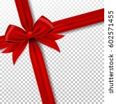 red gift ribbon and bow. | Shutterstock .eps vector #602571455