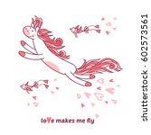 love makes me fly. little pony... | Shutterstock .eps vector #602573561