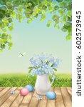 happy easter card. vector... | Shutterstock .eps vector #602573945