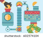 investor places a coin inside a ... | Shutterstock .eps vector #602574104