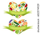veg heart with label. organic... | Shutterstock .eps vector #602574929