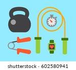 flat icons set of fitness sport ... | Shutterstock .eps vector #602580941