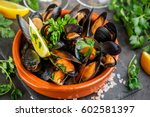 Seafood. Mussels In Wine With...