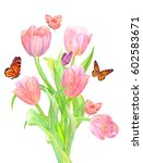 bouquet of tulips with... | Shutterstock . vector #602583671