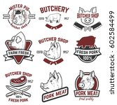 farm fresh pork meat emblems....   Shutterstock .eps vector #602584499