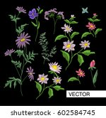 embroidery flowers. embroidered ... | Shutterstock .eps vector #602584745