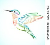 colorful hummingbird | Shutterstock .eps vector #60258763