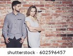 sad young couple arguing and... | Shutterstock . vector #602596457