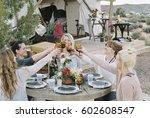 a group of women enjoying an... | Shutterstock . vector #602608547
